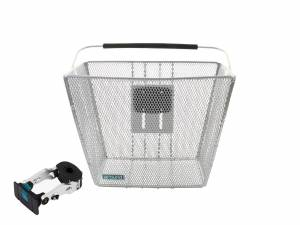 AROUND front bike basket ACE incl. handlebar stemholder, chrome look