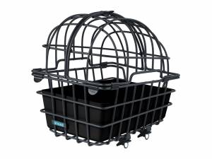 AROUND rear animal bike basket LUNA XL, with partible and removable dome and with Fix System for luggagecarier, black matt