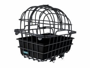 AROUND rear animal bike basket LUNA, with partible and removable dome and with Fix System for luggagecarier, black matt